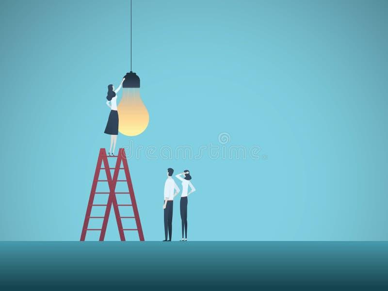 Bedrijfscreativiteit en groepswerk vectorconcept met team van zakenlui die lightbulb installeren Symbool van samenwerking royalty-vrije illustratie