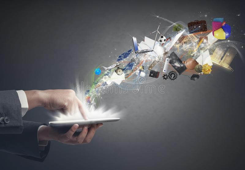 Bedrijfscreativiteit met een tablet royalty-vrije stock afbeeldingen