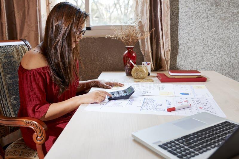Bedrijfsdame die met statistieken werken royalty-vrije stock fotografie