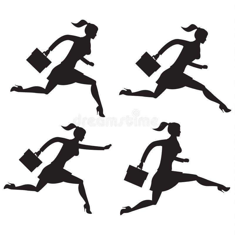 Bedrijfsdame lopende reeks silhouetten vector illustratie