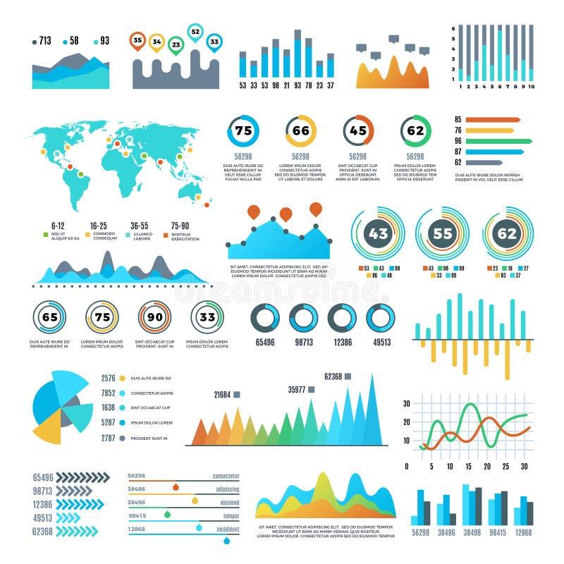 Bedrijfsdemographics en statistieken infographic elementen met kleurrijke grafieken, diagrammen en grafiek vectorreeks royalty-vrije illustratie