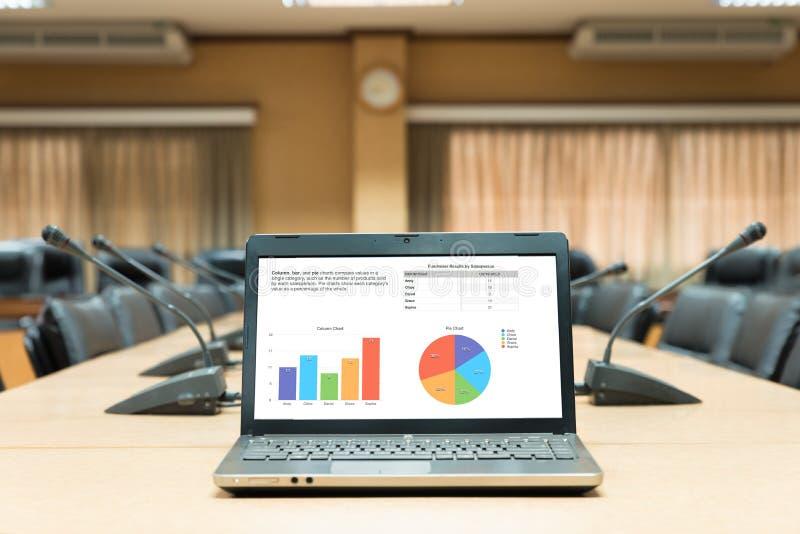 Bedrijfsdiegrafieklaptop computer op houten vergaderingslijst binnen wordt geplaatst royalty-vrije stock foto's