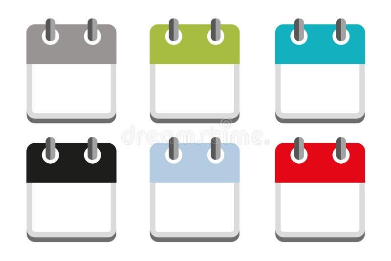 Bedrijfsdiekalenderpictogram in verschillende kleuren wordt geplaatst vector illustratie