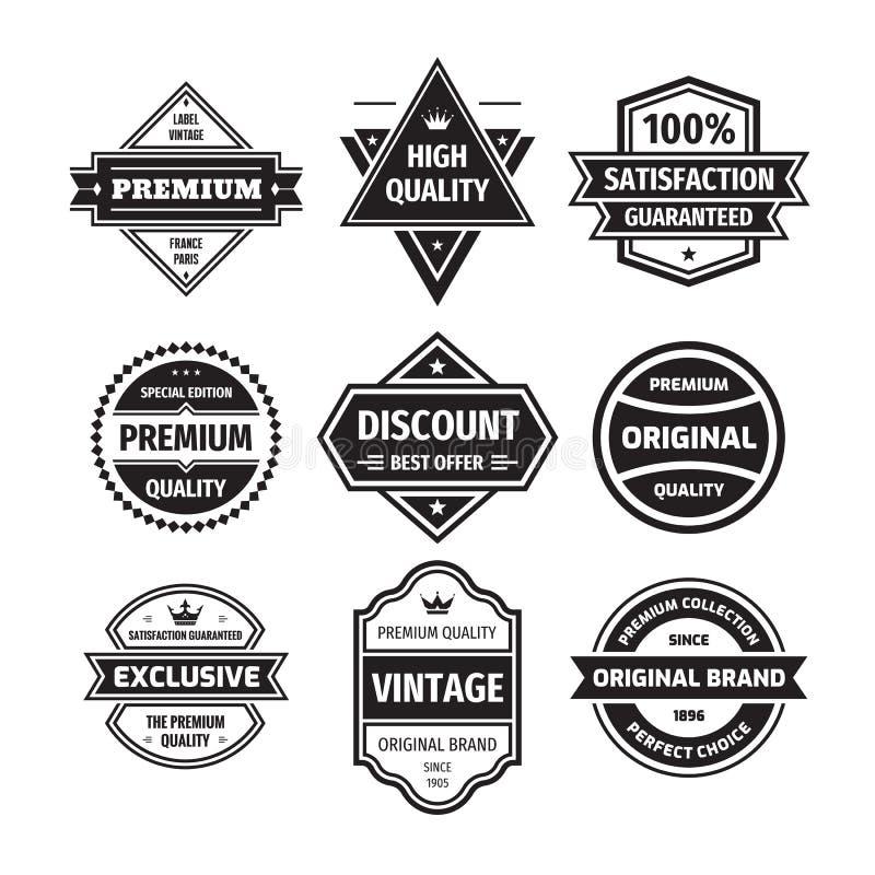 Bedrijfsdiekentekensvector in retro ontwerpstijl wordt geplaatst Abstract embleem De Kwaliteit van de premie Gewaarborgde tevrede royalty-vrije illustratie