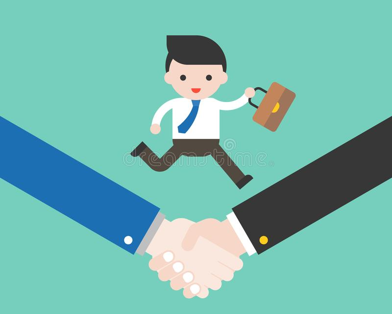 Bedrijfsdiemens met zak op handdruk, succesvolle overeenkomst in werking wordt gesteld cooperat stock illustratie