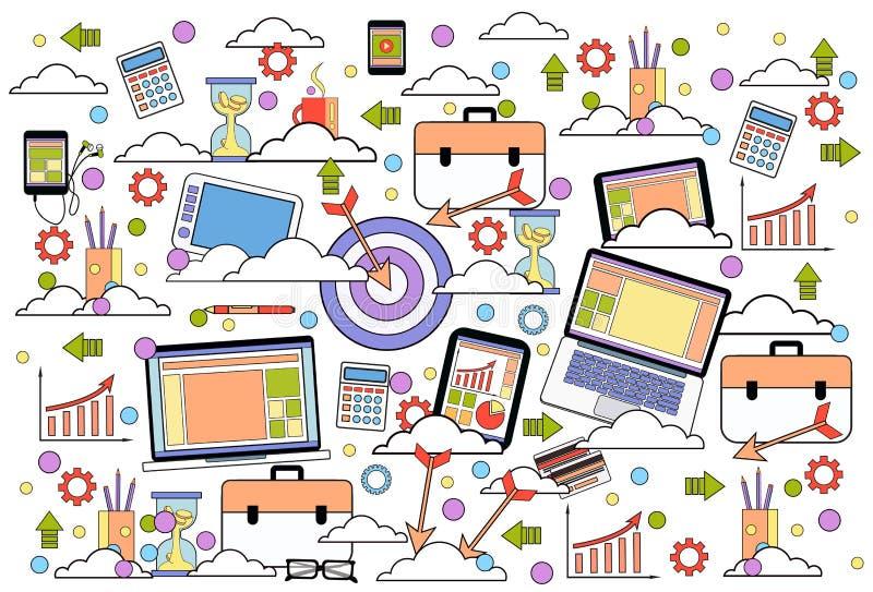 BedrijfsdiePictogrammen op de Witte Marketing Als achtergrond, Strategie en Lijn van het Technologieconcept dun worden geplaatst stock illustratie