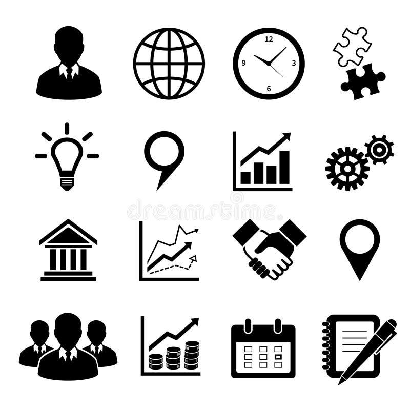 Bedrijfsdiepictogrammen voor infographics worden geplaatst royalty-vrije illustratie