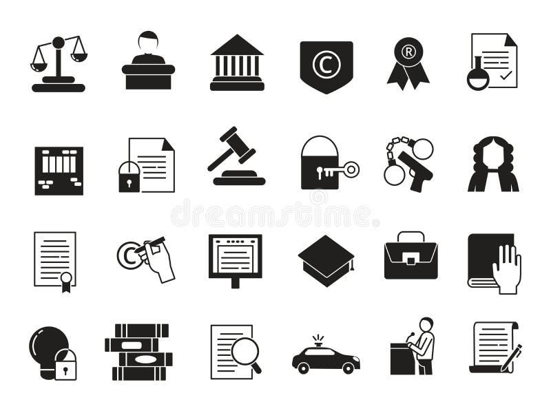 Bedrijfsdiepictogrammen in zwart-wit stijl worden geplaatst Wet en bescherming Wettelijke verordeningen stock illustratie
