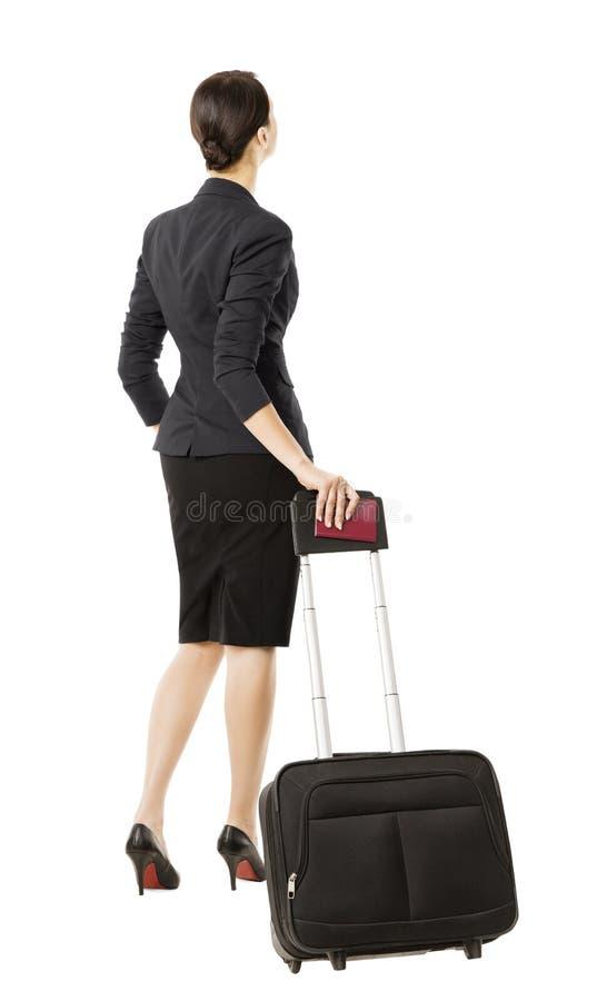 Bedrijfsdievrouw terug in luchthaven, over wit wordt geïsoleerd, businesswom stock foto