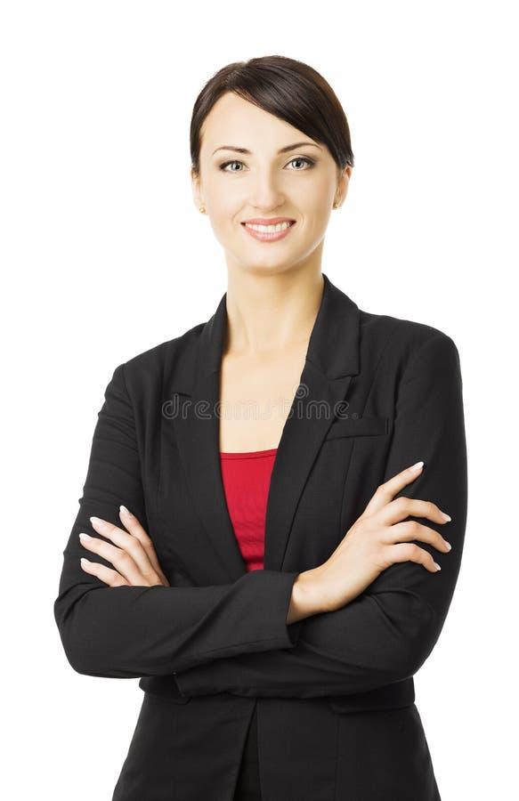 Bedrijfsdievrouwenportret, over witte achtergrond, het glimlachen wordt geïsoleerd stock fotografie