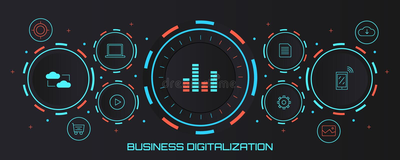 Bedrijfsdigitalisering - digitaal transformatieconcept Vlakke ontwerp vectorbanner vector illustratie