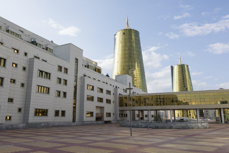 Bedrijfsdistrict met moderne huizen van ministeries in het centrum van Astana royalty-vrije stock foto's
