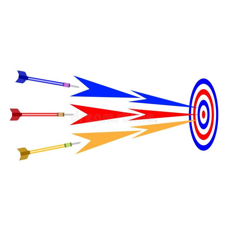 Bedrijfsdoelstrategie Pijltjesvlieg in het doel vector illustratie