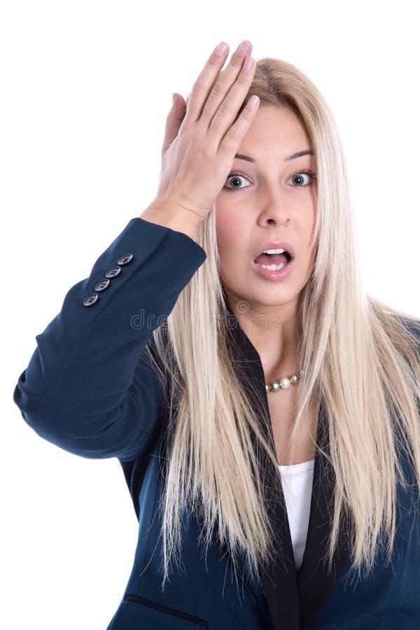 Bedrijfsdruk: geïsoleerde gefrustreerde vrij jonge blonde vrouw stock foto's