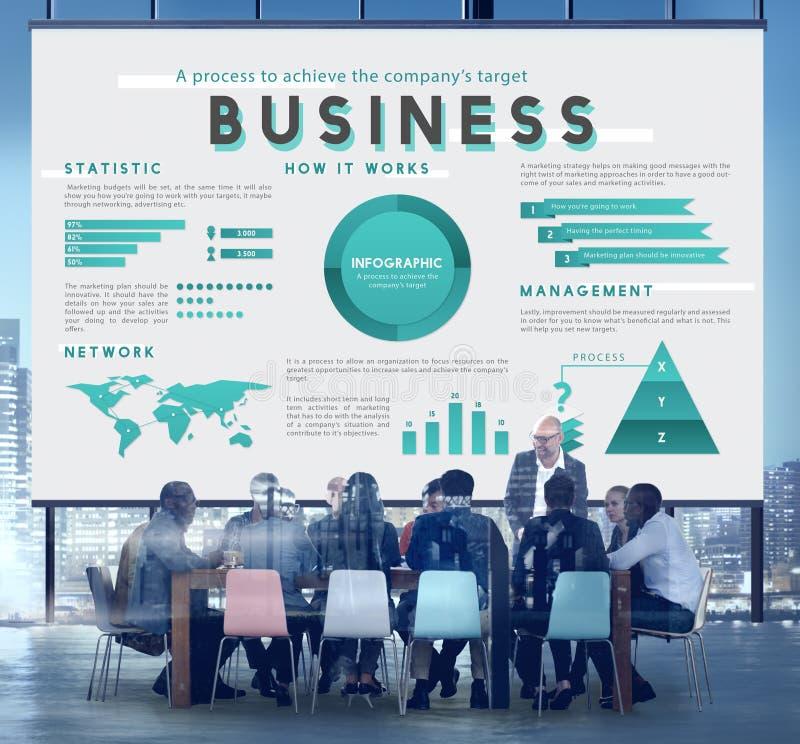 Bedrijfseconomie die Globaal Planconcept op de markt brengen royalty-vrije illustratie