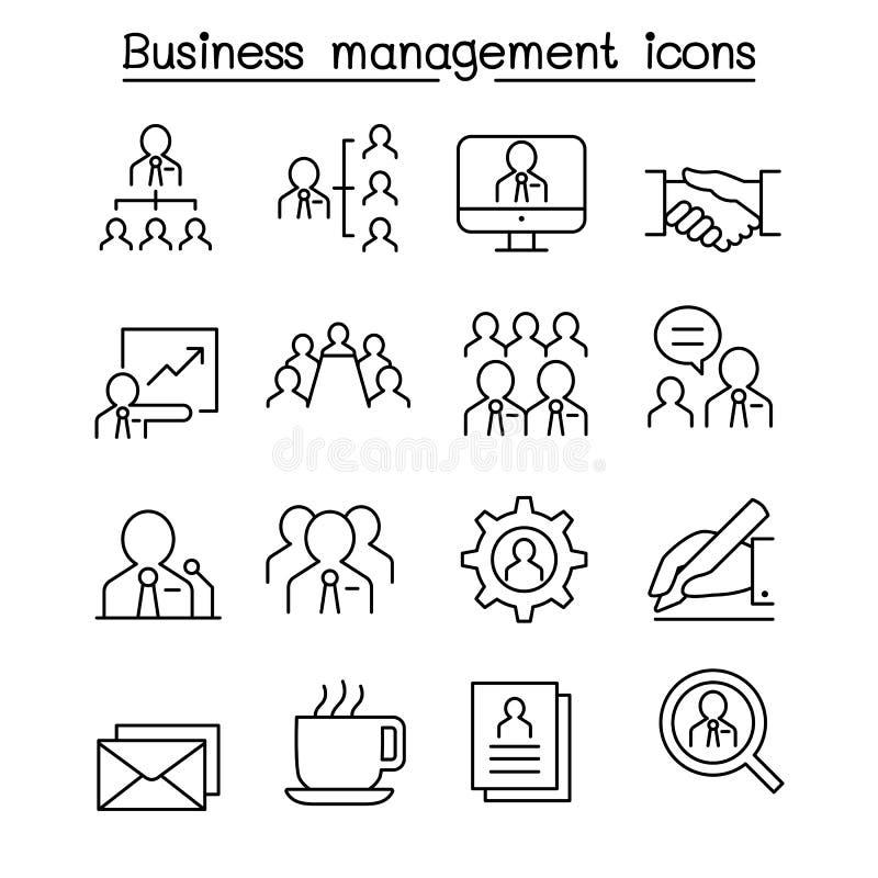 Bedrijfseconomie & Groepswerkpictogram in dunne lijnstijl die wordt geplaatst stock illustratie