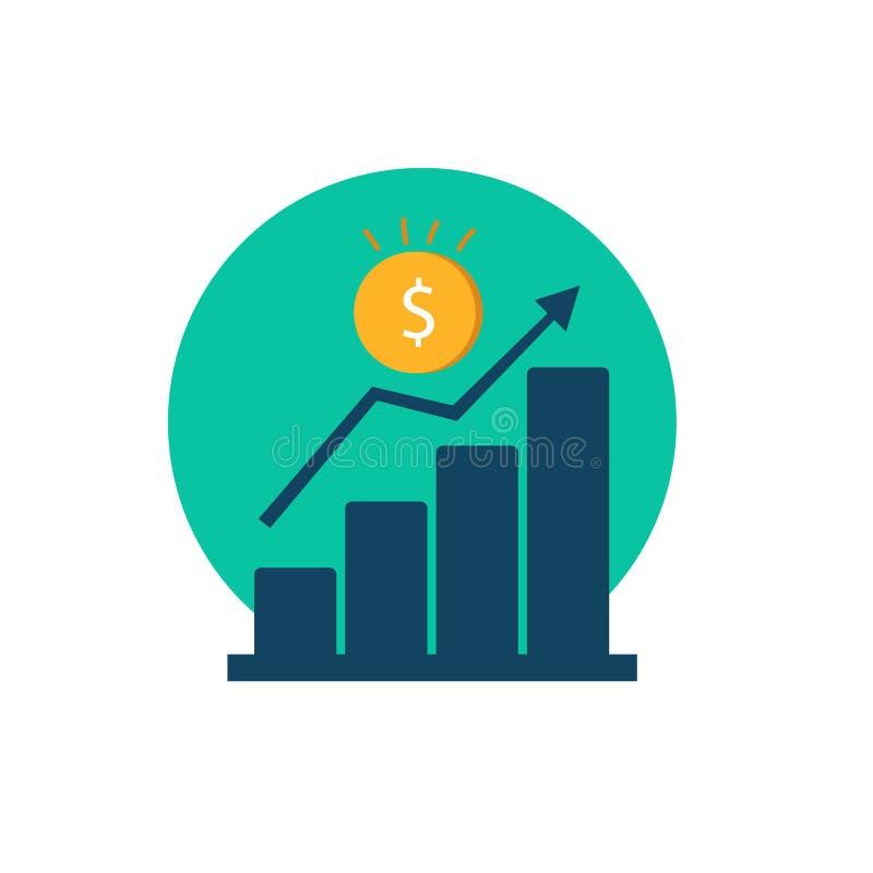 Bedrijfseconomie vector stijgende winst royalty-vrije illustratie