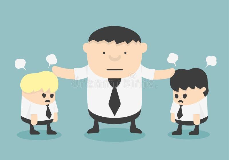 Bedrijfseindemens het ruzie maken vector illustratie