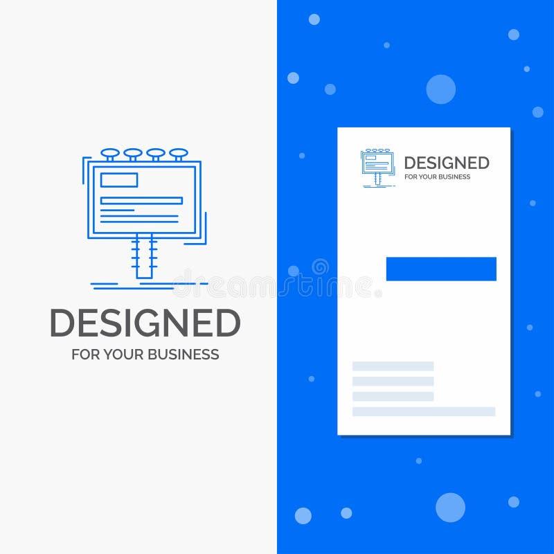 Bedrijfsembleem voor advertentie, reclame, reclame, aanplakbord, promo Verticaal Blauw Bedrijfs/Visitekaartjemalplaatje royalty-vrije illustratie