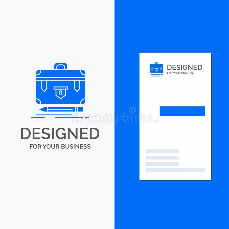 Bedrijfsembleem voor aktentas, financi?le zaken, beheer, portefeuille Verticaal Blauw Bedrijfs/Visitekaartjemalplaatje royalty-vrije illustratie