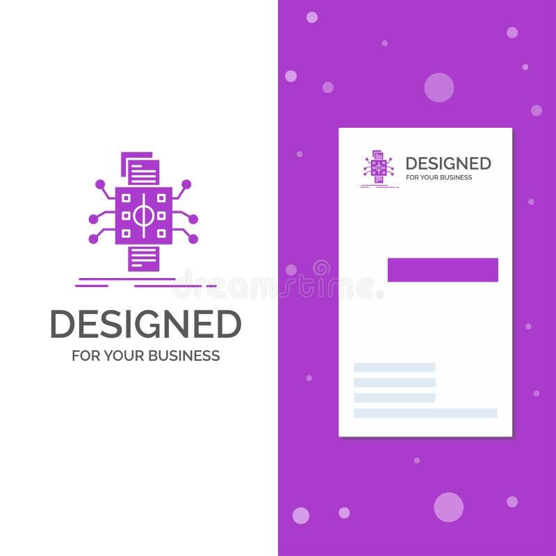 Bedrijfsembleem voor Analyse, gegevens, gegeven, verwerking, rapportering Verticaal Purper Bedrijfs/Visitekaartjemalplaatje creat vector illustratie