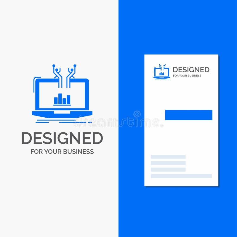 Bedrijfsembleem voor analytische Analyse, online beheer, platform Verticaal Blauw Bedrijfs/Visitekaartjemalplaatje stock illustratie