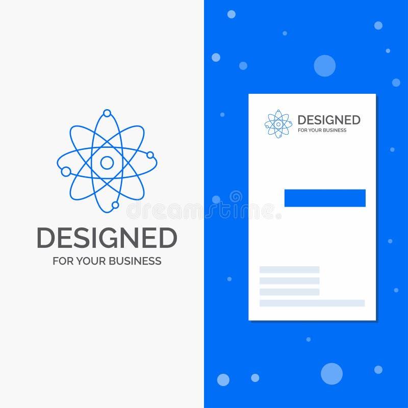 Bedrijfsembleem voor atoom, kern, molecule, chemie, wetenschap Verticaal Blauw Bedrijfs/Visitekaartjemalplaatje stock illustratie