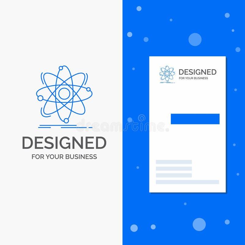 Bedrijfsembleem voor Atoom, wetenschap, chemie, Fysica, kern Verticaal Blauw Bedrijfs/Visitekaartjemalplaatje vector illustratie