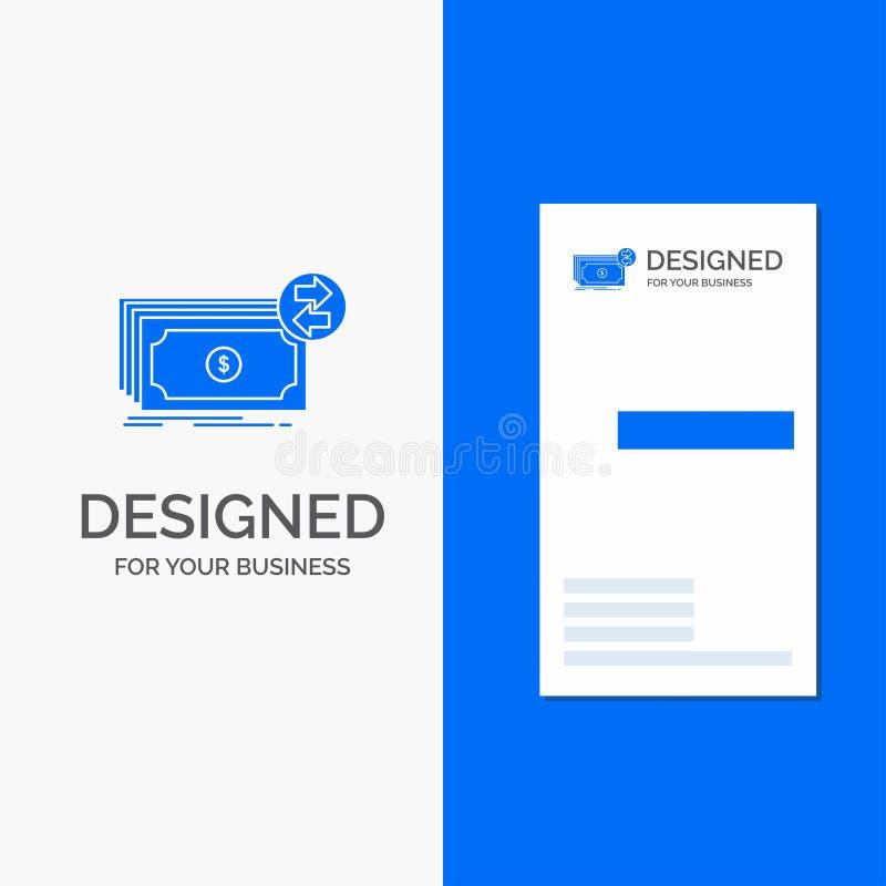 Bedrijfsembleem voor Bankbiljetten, contant geld, dollars, stroom, geld Verticaal Blauw Bedrijfs/Visitekaartjemalplaatje royalty-vrije illustratie