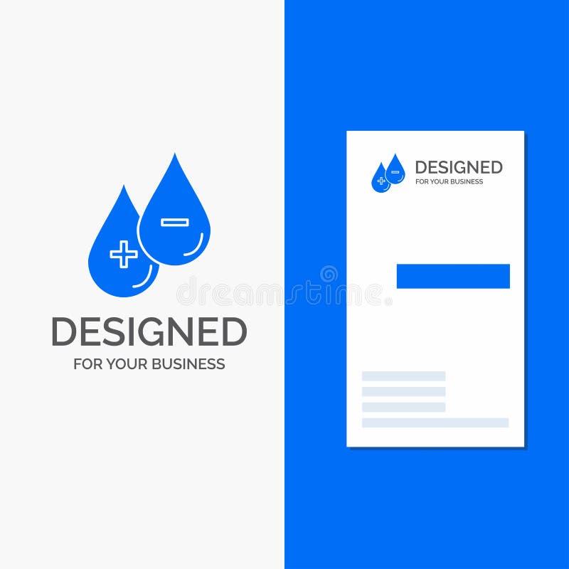 Bedrijfsembleem voor bloed, daling, vloeistof, plus, Minus Verticaal Blauw Bedrijfs/Visitekaartjemalplaatje stock illustratie