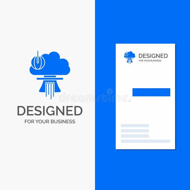 Bedrijfsembleem voor Bom, speciale explosie, kern, oorlog Verticaal Blauw Bedrijfs/Visitekaartjemalplaatje stock illustratie