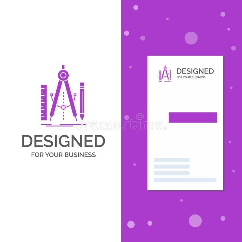 Bedrijfsembleem voor Bouwstijl, ontwerp, meetkunde, wiskunde, hulpmiddel Verticaal Purper Bedrijfs/Visitekaartjemalplaatje Creati royalty-vrije illustratie