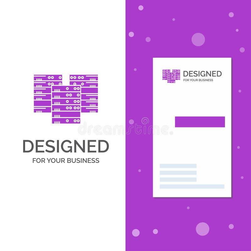Bedrijfsembleem voor Centrum, centrum, gegevens, database, server Verticaal Purper Bedrijfs/Visitekaartjemalplaatje Creatieve ach royalty-vrije illustratie
