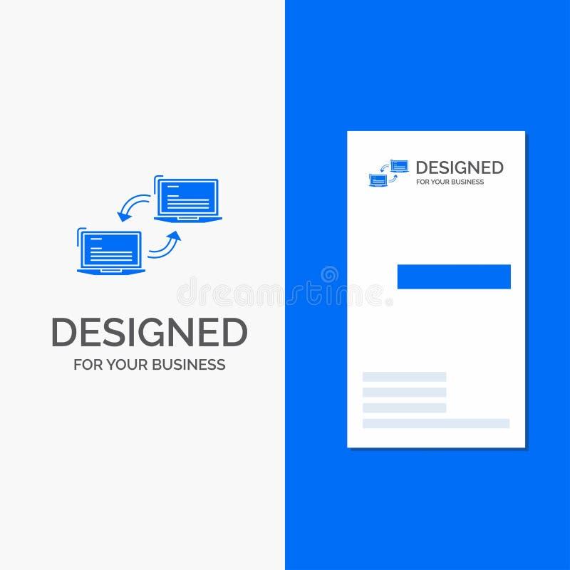 Bedrijfsembleem voor Computer, verbinding, verbinding, netwerk, synchronisatie Verticaal Blauw Bedrijfs/Visitekaartjemalplaatje vector illustratie