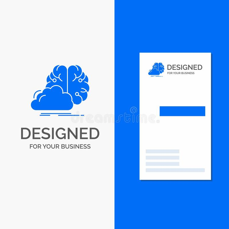 Bedrijfsembleem voor creatieve brainstorming, idee, innovatie, inspiratie Verticaal Blauw Bedrijfs/Visitekaartjemalplaatje royalty-vrije illustratie