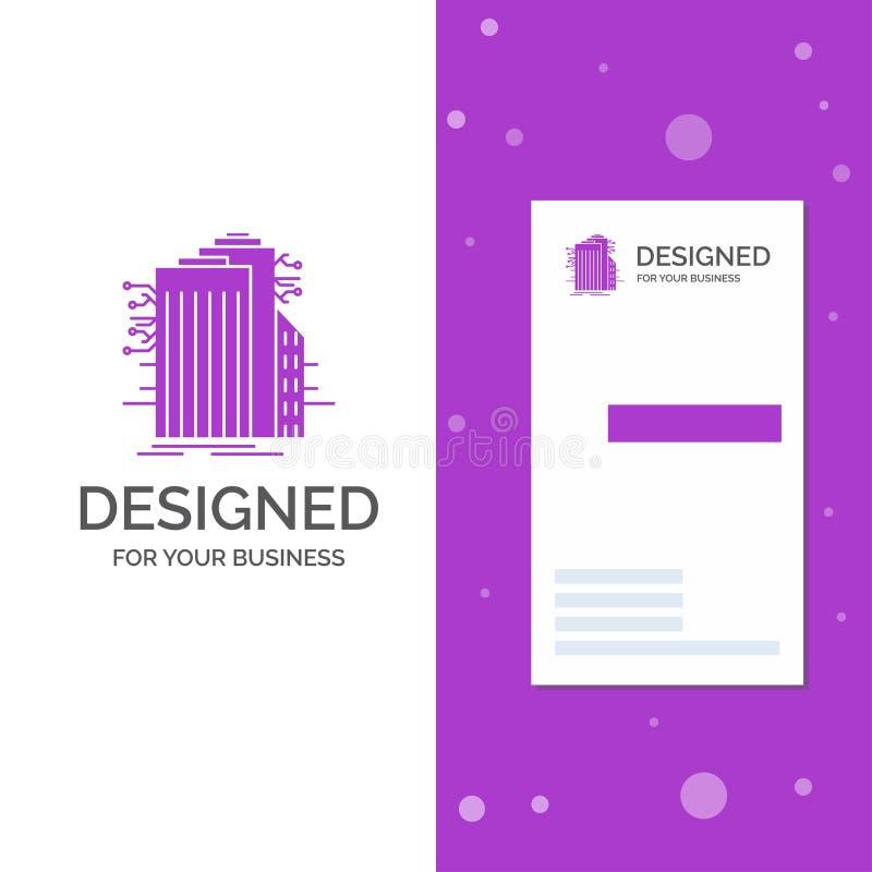 Bedrijfsembleem voor de Bouw, Technologie, Verbonden Smart City, Internet Verticaal Purper Bedrijfs/Visitekaartjemalplaatje stock illustratie