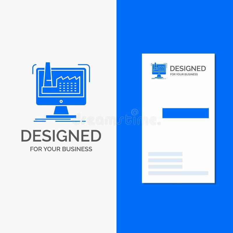 Bedrijfsembleem voor digitaal, fabriek, productie, productie, product Verticaal Blauw Bedrijfs/Visitekaartjemalplaatje vector illustratie