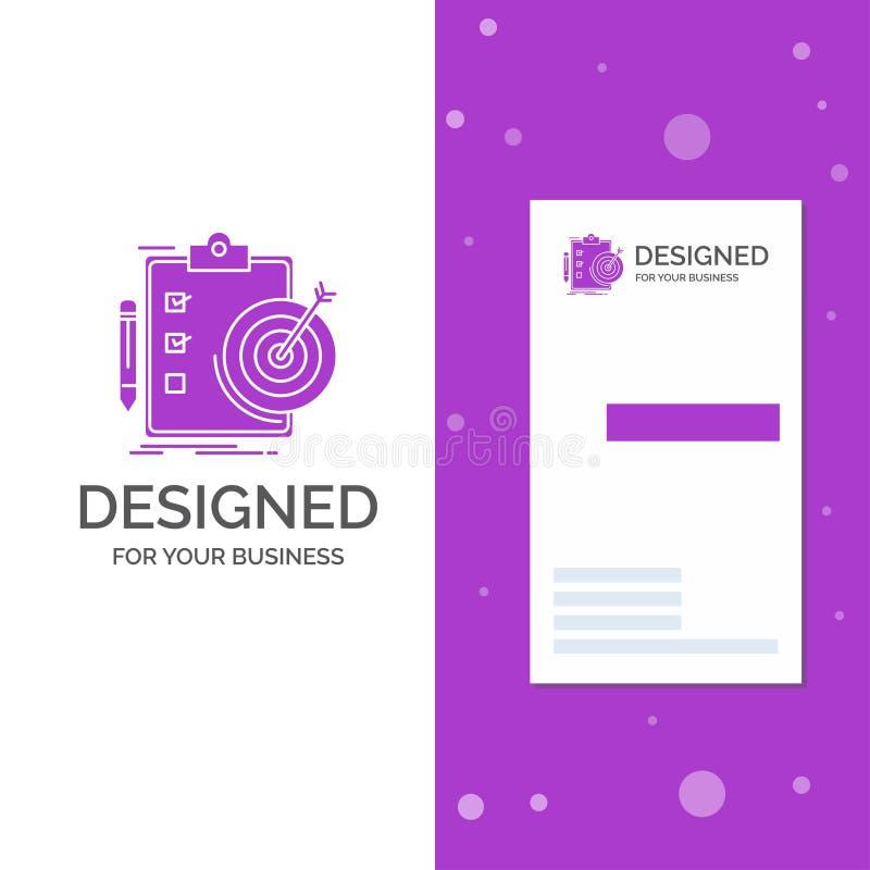 Bedrijfsembleem voor doelstellingen, rapport, analytics, doel, voltooiing Verticaal Purper Bedrijfs/Visitekaartjemalplaatje creat stock illustratie
