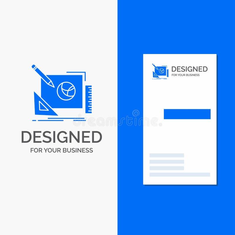 Bedrijfsembleem voor embleem, creatief ontwerp, idee, ontwerpproces Verticaal Blauw Bedrijfs/Visitekaartjemalplaatje royalty-vrije illustratie