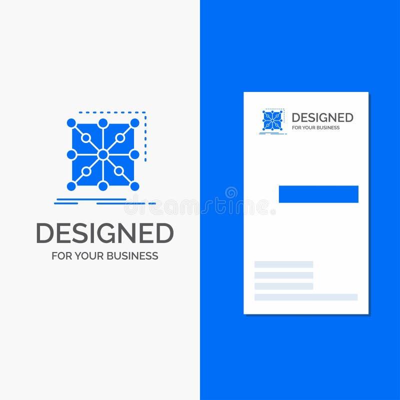 Bedrijfsembleem voor Gegevens, kader, App, complexe cluster, Verticaal Blauw Bedrijfs/Visitekaartjemalplaatje royalty-vrije illustratie