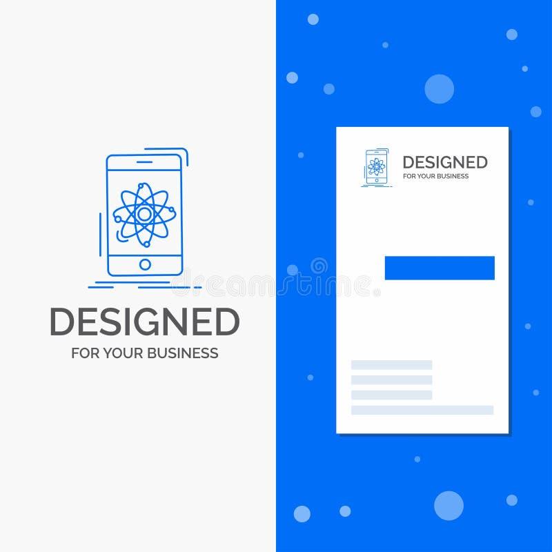 Bedrijfsembleem voor gegevens, mobiele informatie, onderzoek, wetenschap Verticaal Blauw Bedrijfs/Visitekaartjemalplaatje stock illustratie