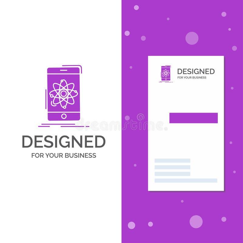 Bedrijfsembleem voor gegevens, mobiele informatie, onderzoek, wetenschap Verticaal Purper Bedrijfs/Visitekaartjemalplaatje creati royalty-vrije illustratie