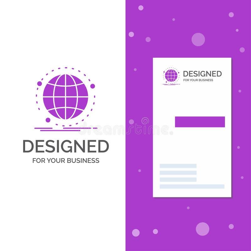 Bedrijfsembleem voor globale Gegevens, Internet, netwerk, Web Verticaal Purper Bedrijfs/Visitekaartjemalplaatje Creatieve achterg vector illustratie
