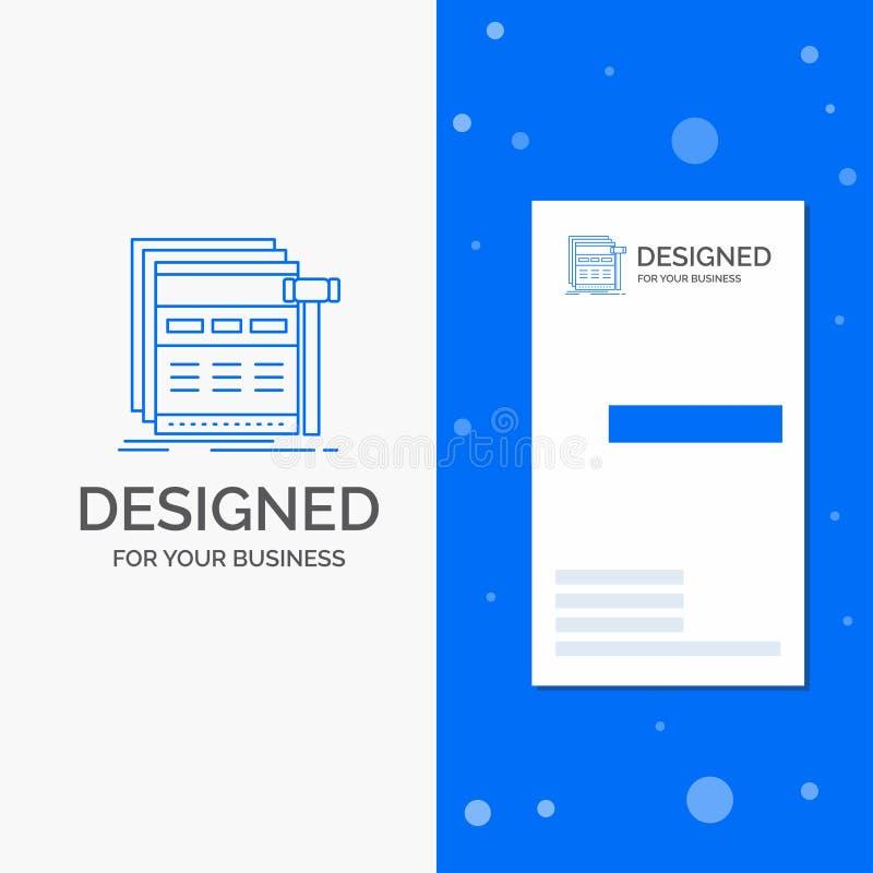 Bedrijfsembleem voor Internet, pagina, Web, webpagina, wireframe Verticaal Blauw Bedrijfs/Visitekaartjemalplaatje stock illustratie