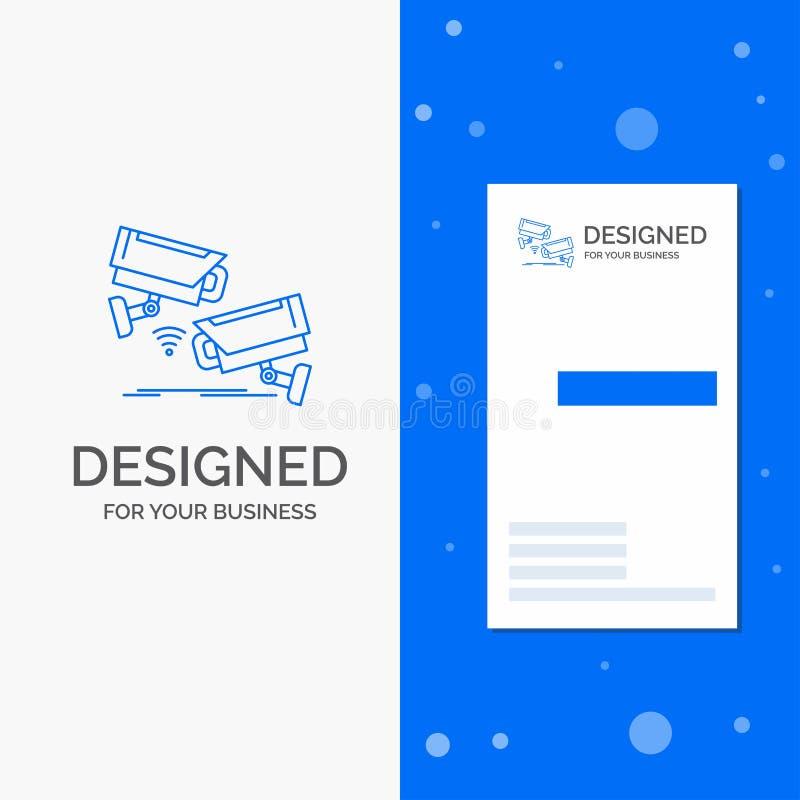 Bedrijfsembleem voor kabeltelevisie, Camera, Veiligheid, Toezicht, Technologie Verticaal Blauw Bedrijfs/Visitekaartjemalplaatje vector illustratie