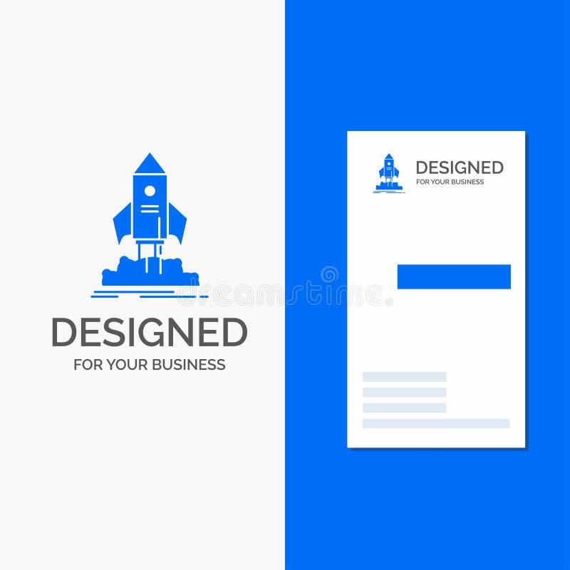 Bedrijfsembleem voor lancering, opstarten, schip, pendel, opdracht Verticaal Blauw Bedrijfs/Visitekaartjemalplaatje royalty-vrije illustratie