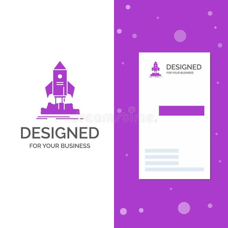 Bedrijfsembleem voor lancering, opstarten, schip, pendel, opdracht Verticaal Purper Bedrijfs/Visitekaartjemalplaatje Creatieve ac royalty-vrije illustratie