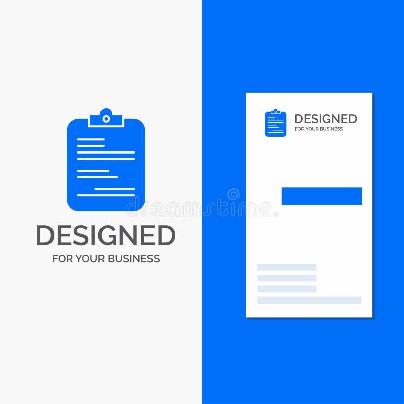 Bedrijfsembleem voor medisch rapport, document, controlelijst, document Verticaal Blauw Bedrijfs/Visitekaartjemalplaatje royalty-vrije illustratie