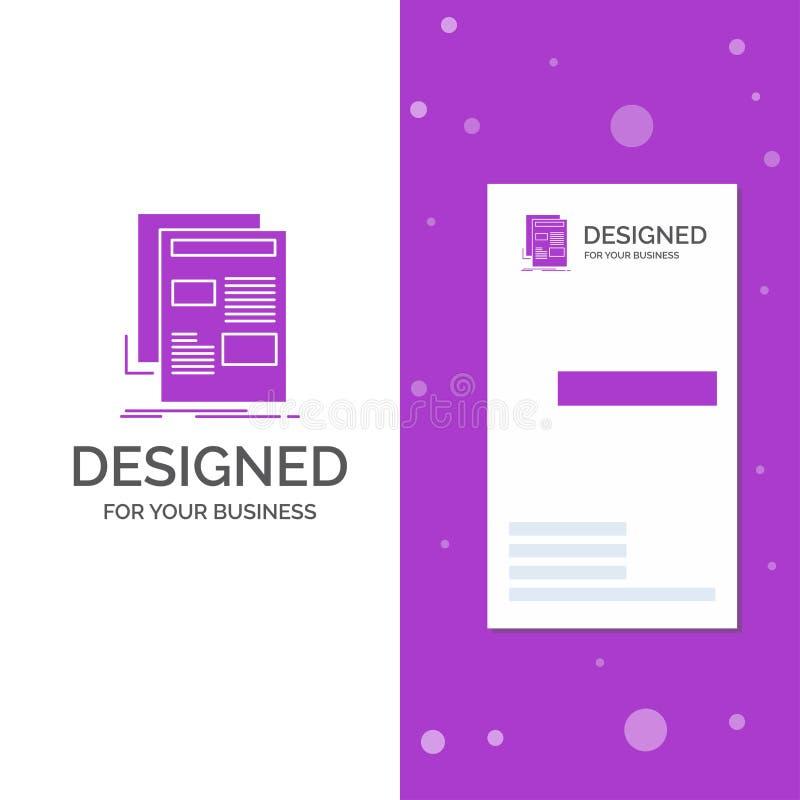 Bedrijfsembleem voor nieuws, bulletin, krant, media, document Verticaal Purper Bedrijfs/Visitekaartjemalplaatje creatief royalty-vrije illustratie