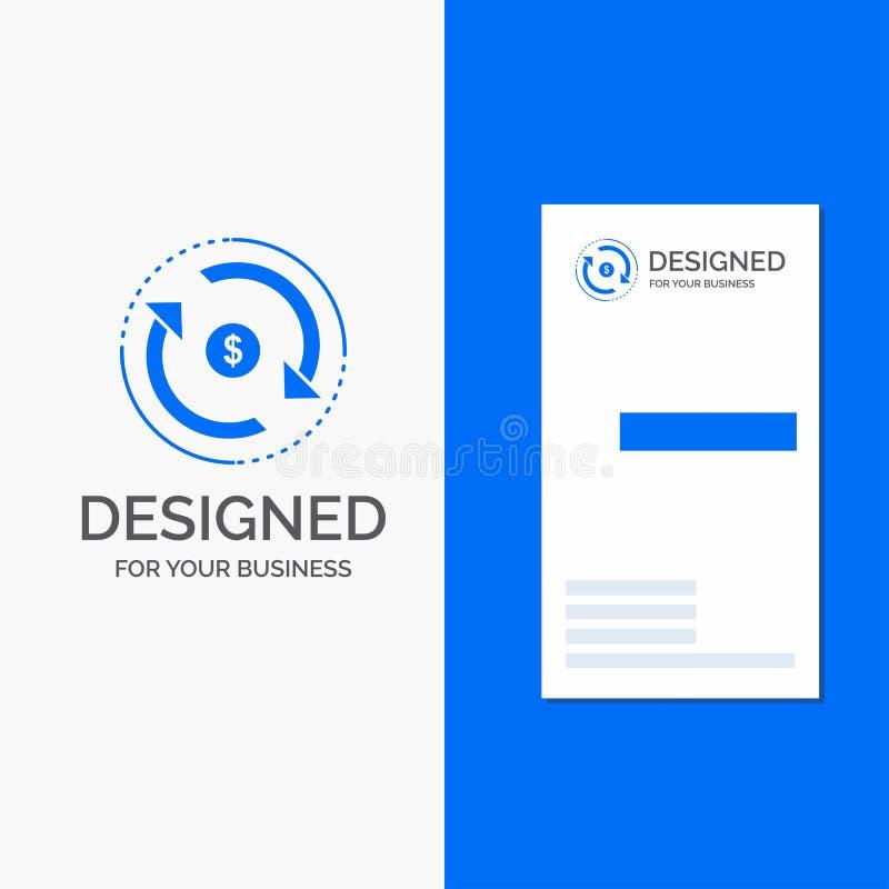 Bedrijfsembleem voor Omloop, financiën, stroom, markt, geld Verticaal Blauw Bedrijfs/Visitekaartjemalplaatje vector illustratie